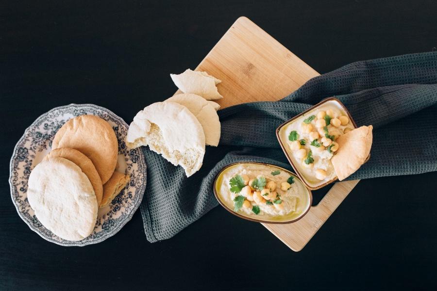 smaczny godzin razy podania wody humusu sezamu